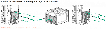 HPE ML110 Gen10 4LFF Drive Backplane Cage Kit (4 LFF hot-plug drive cage can be installed in both box 1 and box 2)